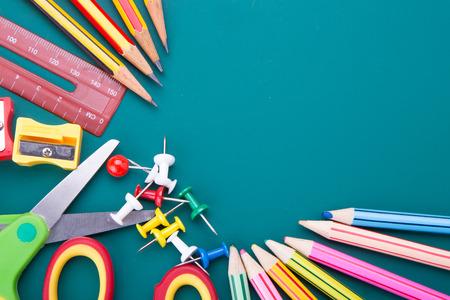 crayon  scissors: Back to school theme using school supplies and blackboard