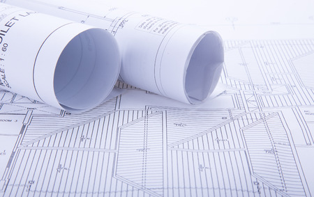 Architect rolls and plans.architectural plan,project drawing