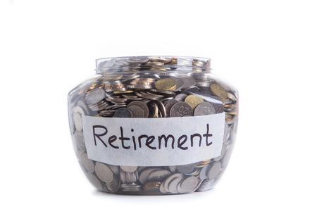 Retirement savings money in jar Foto de archivo