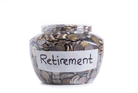 Retirement savings money in jar Stockfoto