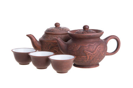 teacups: Chinese teapot and teacups set isolated on white Stock Photo
