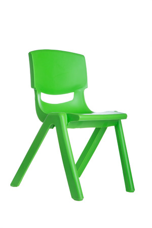 Green plastic chair isolated on white background 免版税图像