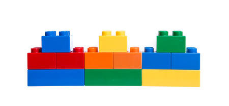red building blocks: Plastic building blocks isolated on white background