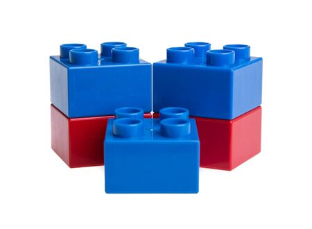 building bricks: Plastic building blocks isolated on white background