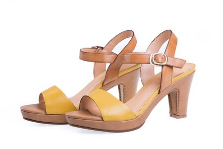 heel strap: Pair of high-heeled female shoes Stock Photo