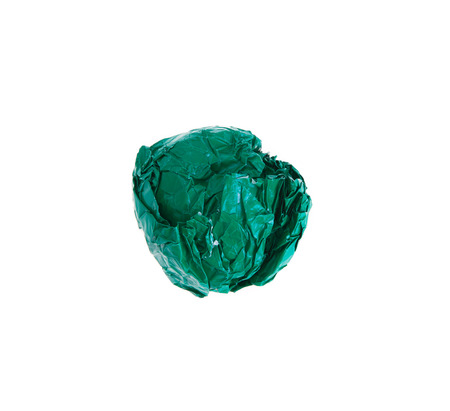 crinkly: crumpled color paper ball isolated on white background