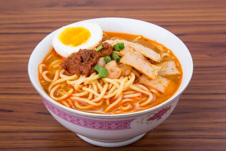 Famous Malaysia Prawn noodle with chili paste, Malaysia shrimp noodle, Penang prawn noodle
