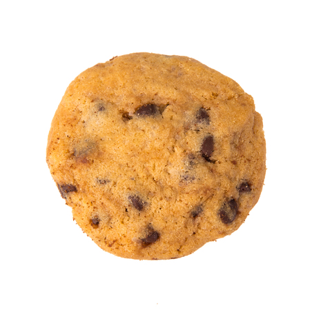 brocken: Chocolate chip cookie isolated on white background
