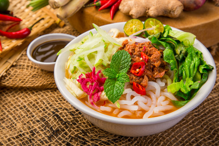 Assam Laksa (Noddle in Tangy Fish Gravy) is a Special Malaysian Food Popular in Penang