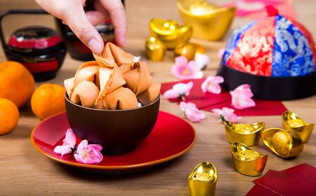 Fortune cookies with Chinese New Year decoration