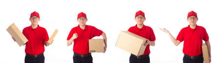 Delivery Concept - Set of Portrait of delivery man in red cloth holding a box package. Isolated on white background. Фото со стока