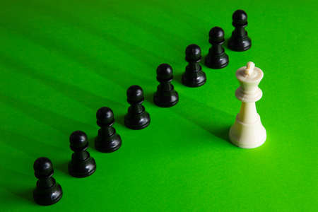 Concept of business leadership as a group of chess pieces gathering together as a team
