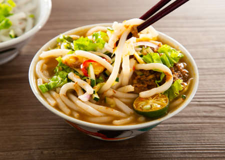 Assam Laksa (Noddle in Tangy Fish Gravy) is a Special Malaysian Popular Food