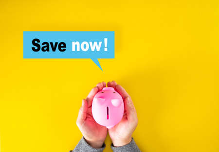 Save now or cost reduction concepts with text and piggy bank. business management 免版税图像