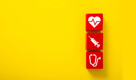Medical health care wooden block icon. Concept health care protection