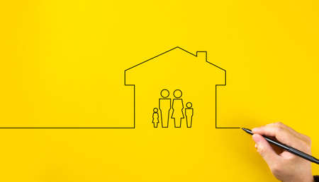 Family life insurance, family services and supporting families concepts.