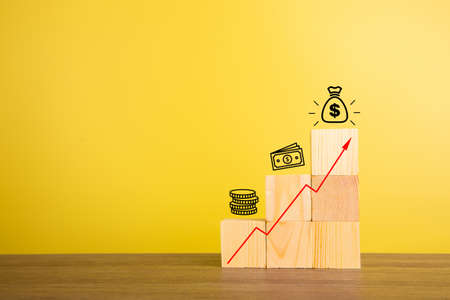 Progress growth income profit success with growth arrow. Business concept.