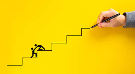 Team work for success, hand drawing staircase on yellow background