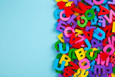 Set of colourful Alphabet on blue background