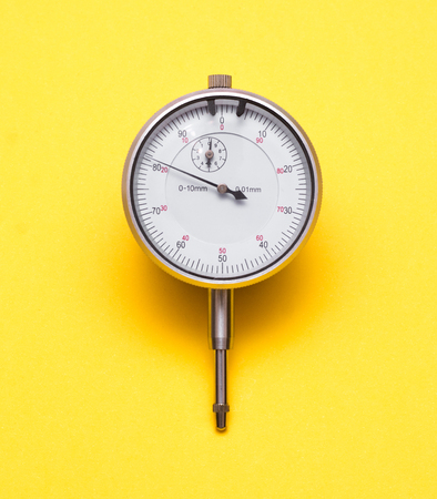 depth gauge: Depth gauge on yellow background