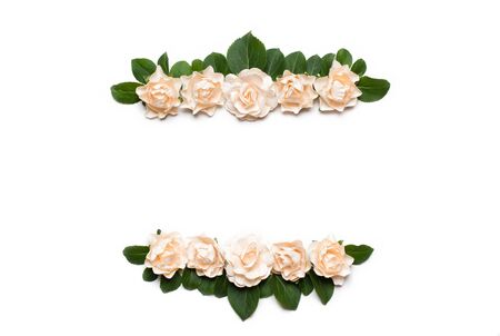 copyspace: White roses frame with empty copyspace on white Stock Photo