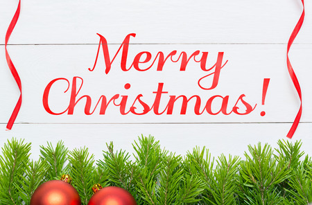 Merry Christmas concept. Christmas decoration on white wooden desk