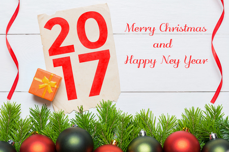 Merry Christmas and Happy New Year 2017. Christmas decoration concept