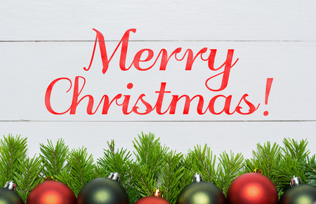 Christmas fir tree with decoration. Merry Christmas concept