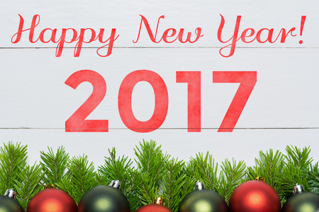 Christmas fir tree and decoration. Happy New Year 2017