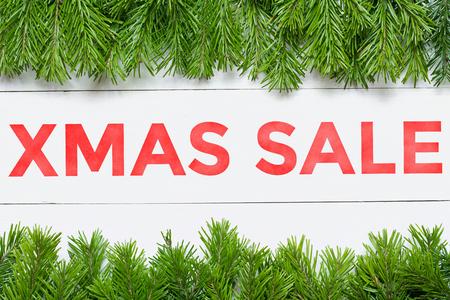 Xmas Sale concept. Christmas fir tree frame. Stock fotó