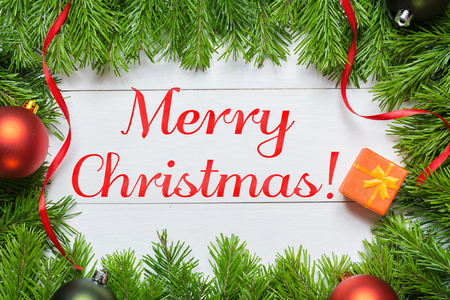 Merry Christmas concept. Christmas fir tree with decoration