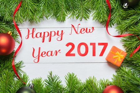 Happy New Year 2017 concept. Christmas fir tree with decoration Imagens