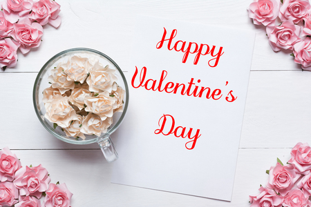 Happy Valentines Day concept. White and pink roses background