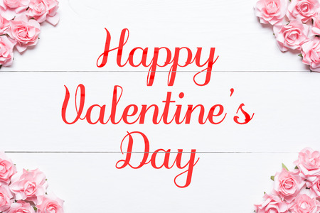 Happy Valentines Day concept. Pink roses frame background Stock fotó