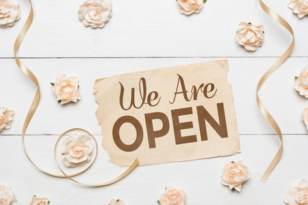 We Are Open! Vintage paper sheet and white roses