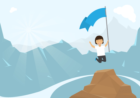 happiness or success: Man climbing mountain with blue flag. Happiness of success Illustration