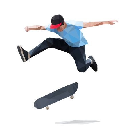 Skateboarder doing a jumping trick on skateboard. Low Poly Vector Illustration Illusztráció