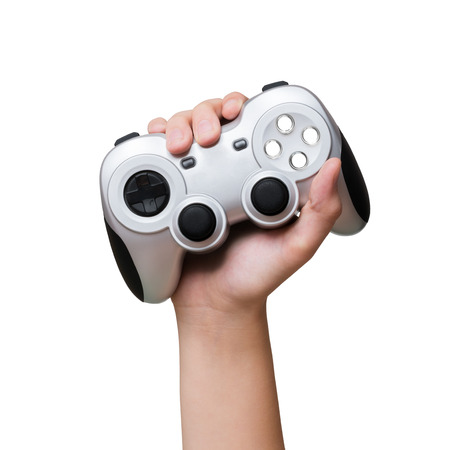 Game controller in hand raised up. Isolated-background