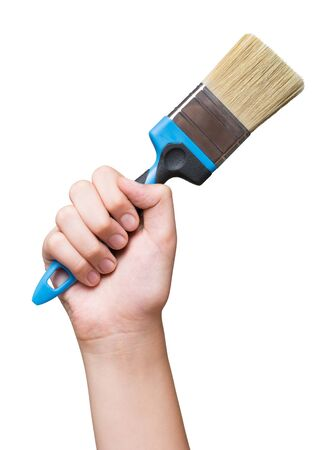 Flat brush in hand raised up isolated on white Stock fotó