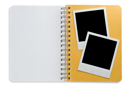 item list: Spiral notepad and black instant photo isolated on a white Stock Photo