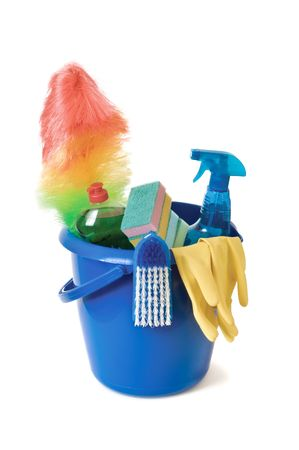 cleaning supplies: Cleaning supplies isolated on a white