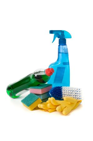 scrubbing up: Cleaning supplies isolated on a white
