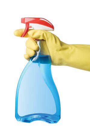 Hand mit Sprühflasche isolated on a white