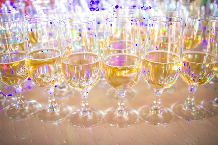 Champagne in flute glasses at a party 스톡 콘텐츠