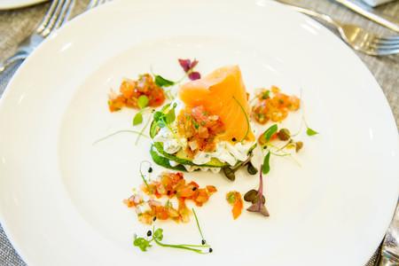 Salmon, cream cheese and zucchini starter