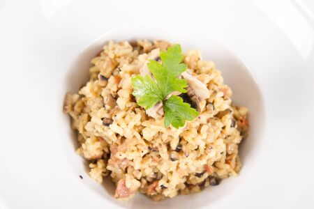 Risotto with button mushroom and bacon decorated with parsley on a plate on a white background