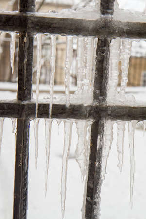 Icicles on a gate in close up