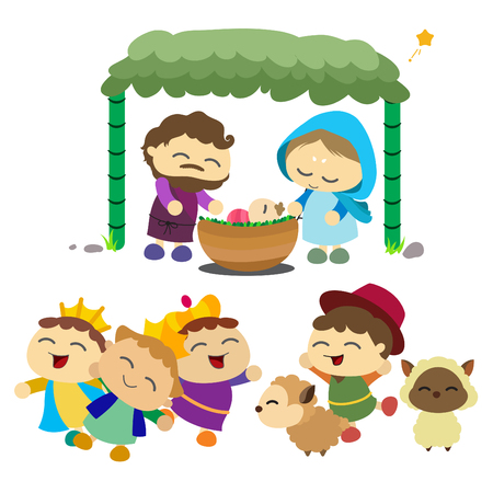 Baby Jesus, Saint Joseph, Saint Marry, three king, shepherd dan sheep 向量圖像