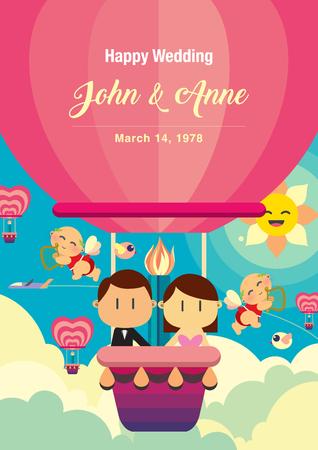 Cute couple on air balloon