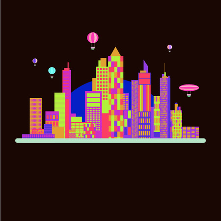 Town background design with neon colors 向量圖像